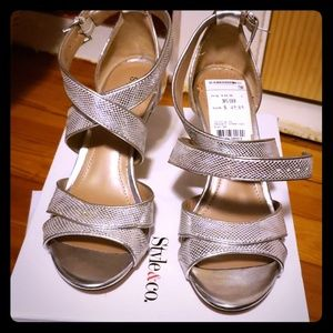 New Style &Co silver heels size 5.5